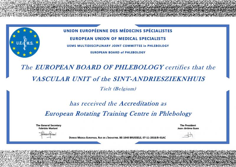 Certificaat van de erkenning voor dienst Vaatheelkunde - Heelkunde Tielt