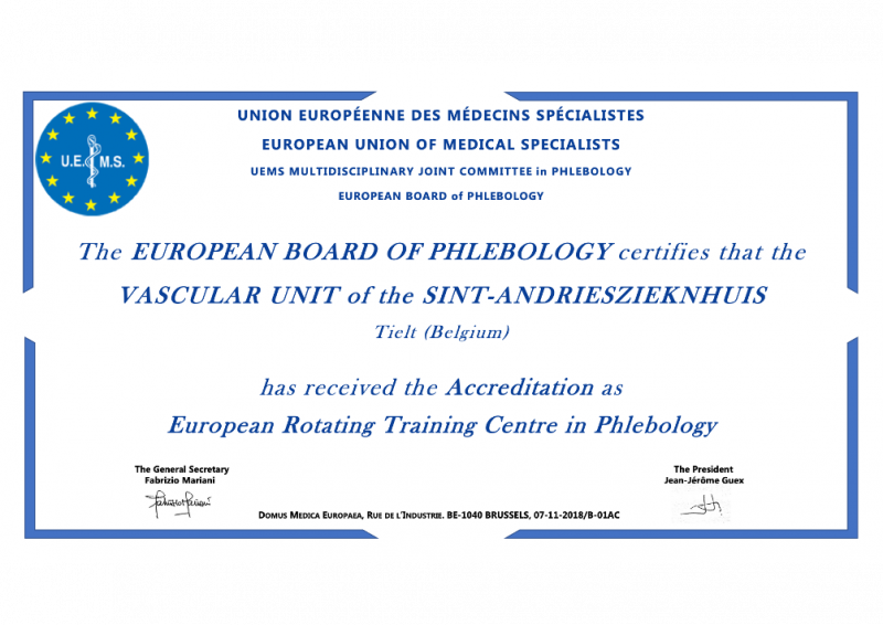 Certificaat van de erkenning voor opleiding in de Flebologie, Vaatheelkunde - Heelkunde Tielt